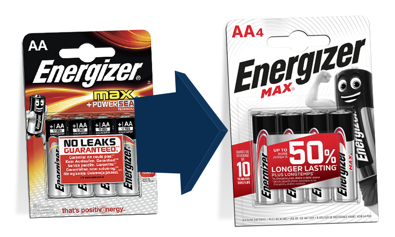 Energizer has new packets' layout